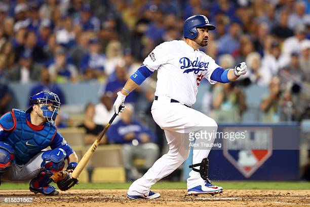 Adrian Gonzalez of the Los Angeles Dodgers lines out during Game 3 of the NLCS against the Chicago Cubs at Dodger Stadium on Tuesday October 18 2016...