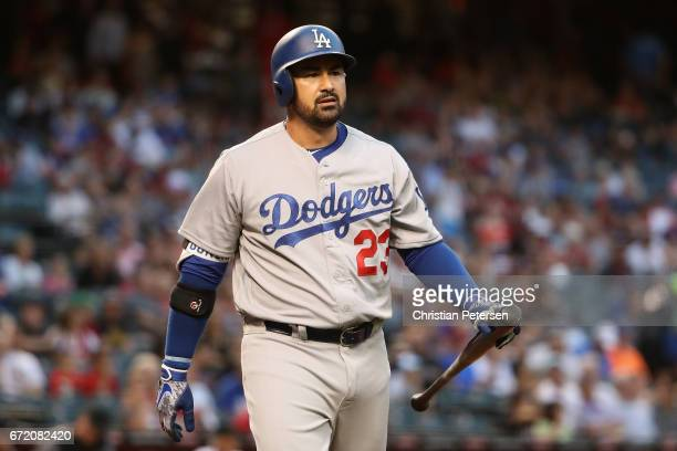 Adrian Gonzalez of the Los Angeles Dodgers reacts to a strike out against the Arizona Diamondbacks during the MLB game at Chase Field on April 21...