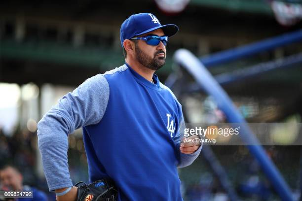 Adrian Gonzalez of the Los Angeles Dodgers warms up before the game against the Chicago Cubs at Wrigley Field on Wednesday April 12 2017 in Chicago...