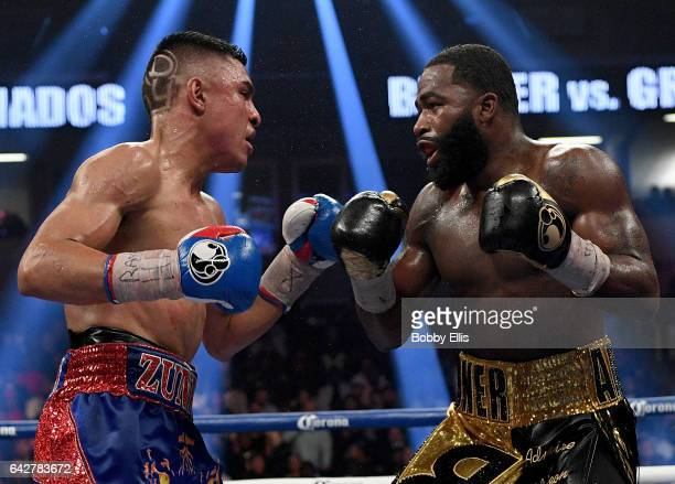 Adrian Granados left and Adrien Broner right square off against each other during their fight at the Cintas Center on February 18 2017 in Cincinnati...