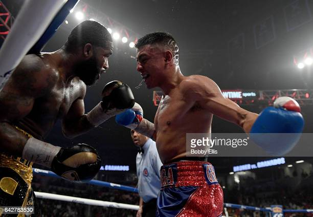 Adrian Granados right attempts to hit Adrien Broner while pinning him to the ropes during their fight on February 18 2017 in Cincinnati Ohio