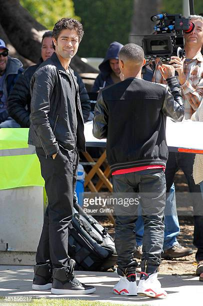 Adrian Grenier and Bow Wow are seen filming a scene for the 'Entourage' movie in Beverly Hills on April 01 2014 in Los Angeles California