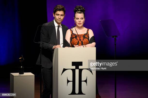 Adrian Grenier and Debi Mazar speak on stage at the 2017 Fragrance Foundation Awards Presented By Hearst Magazines at Alice Tully Hall on June 14...