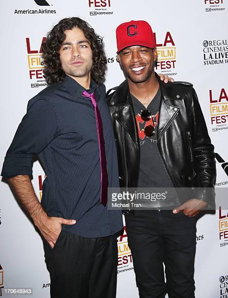 Adrian Grenier and Kid Cudi arrive at the 2013 Los Angeles Film Festival 'Goodbye World' premiere held at Regal Cinemas LA LIVE Stadium 14 on June 15...