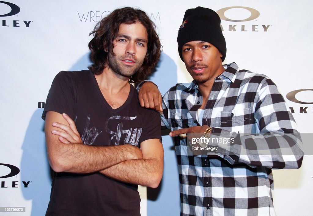 <a gi-track='captionPersonalityLinkClicked' href=/galleries/search?phrase=Adrian+Grenier&family=editorial&specificpeople=211413 ng-click='$event.stopPropagation()'>Adrian Grenier</a> and <a gi-track='captionPersonalityLinkClicked' href=/galleries/search?phrase=Nick+Cannon&family=editorial&specificpeople=202208 ng-click='$event.stopPropagation()'>Nick Cannon</a> attend the Oakley and Wreckroom musical presentation at The W hotel on March 15, 2013 in Austin, Texas.