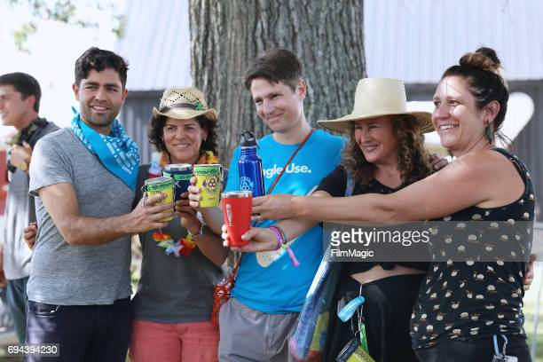Adrian Grenier and panelists are seen backstage at the 'Think Twice Drink Twice Small Steps for Big Impact' panel at the Solar Stage during Day 2 of...