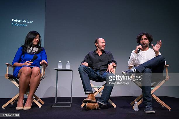 Adrian Grenier and Peter Glatzer speak at the Meet the App Developers Adrian Grenier and Peter Glatzer event at Apple Store Soho on August 13 2013 in...