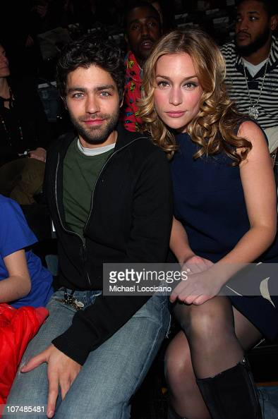 Adrian Grenier and Piper Perabo during Mercedes Benz Fashion Week Fall 2007 GStar Front Row and Backstage at Gotham Hall in New York City New York...
