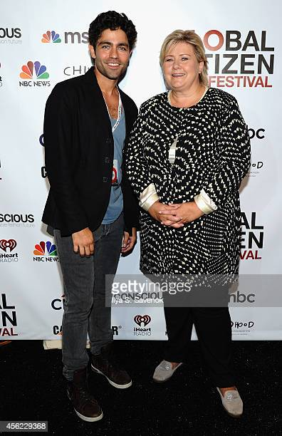 Adrian Grenier and Prime Ministers of Norway Erna Solberg attend VIP Lounge at the 2014 Global Citizen Festival to end extreme poverty by 2030 in...