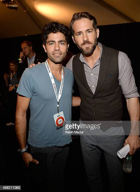 Adrian Grenier and Ryan Reynolds attend the 2014 Global Citizen Festival to end extreme poverty by 2030 at Central Park on September 27 2014 in New...
