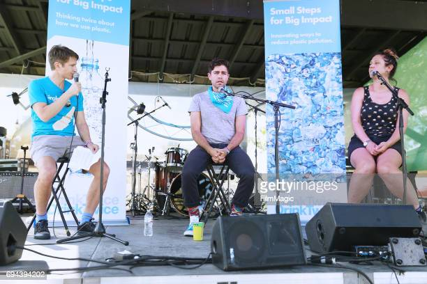 Adrian Grenier speaks onstage with panelists at the 'Think Twice Drink Twice Small Steps for Big Impact' panel at the Solar Stage during Day 2 of the...