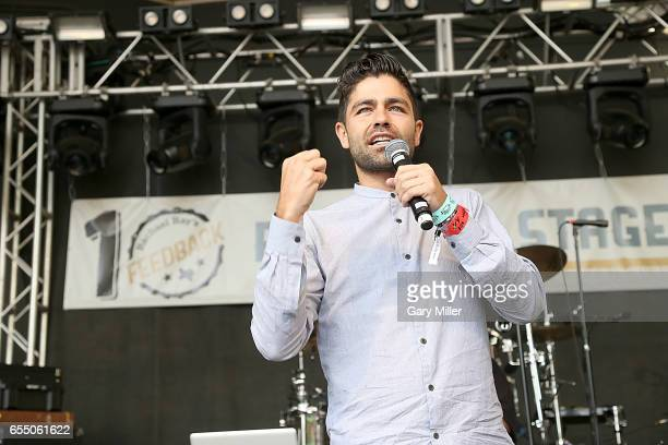 Adrian Grenier speaks the the audience at Rachael Ray's Feedback at Stubbs BBQ during South By Southwest Conference and Festival on March 18 2017 in...