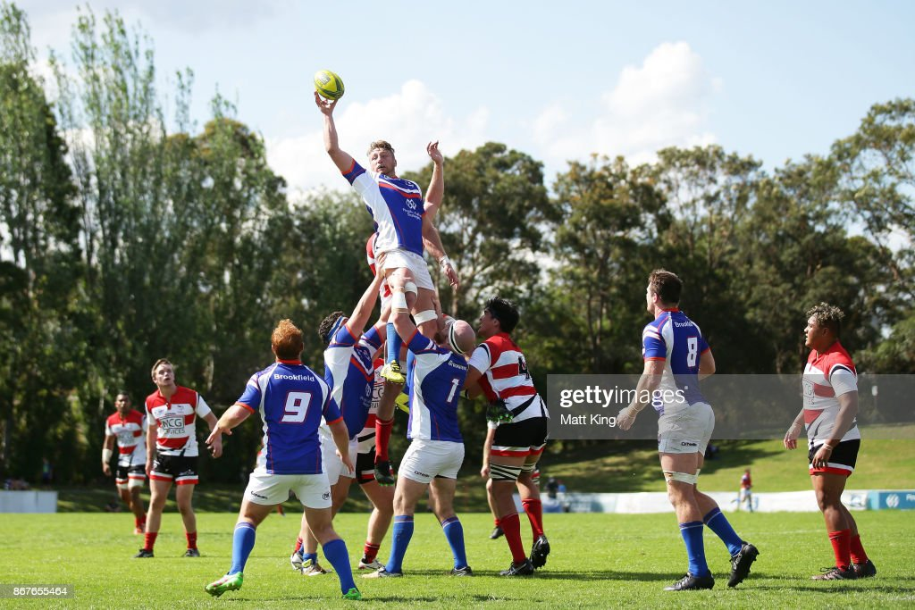 Adrian Hall of the Rams jumps at the lineout during the round nine NRC match between the Rams and Canberra at TG Milner Oval on October 29, 2017 in Sydney, Australia.