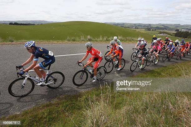 Adrian Hegyvary of US out front heading towards Gore during stage five of the Tour of Southland on November 6 2015 in Invercargill New Zealand