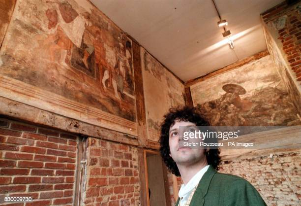 Adrian Heritage a wall paintings expert observes some works discovered in 1934 inside the Elizabethan grade 1 listed Hill Hall near Epping in Essex...