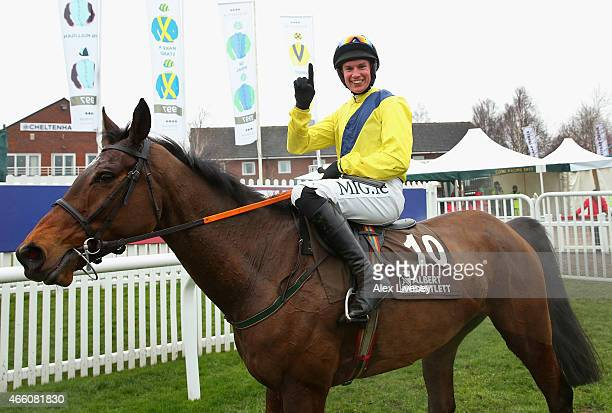 Adrian Heskin on Martello Tower celebrates winning the Albert Bartlett Novices' Hurdle race during the Cheltenham Gold Cup day at the Cheltenham...