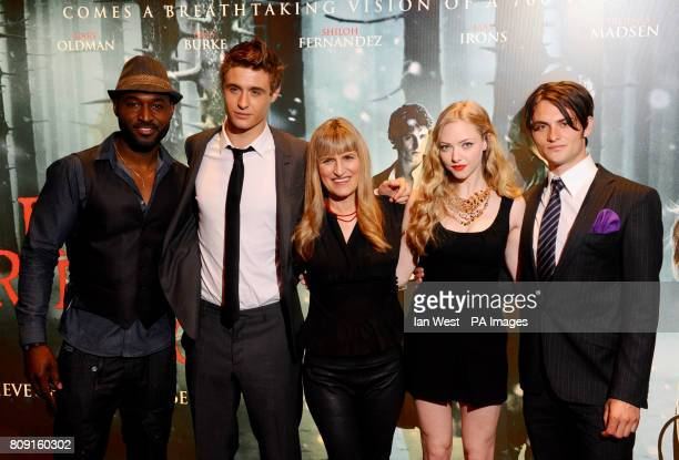Adrian Holmes Max Irons Catherine Hardwicke Amanda Seyfried and Shiloh Fernandez attend the screening of Red Riding Hood at the Empire Cinema in...