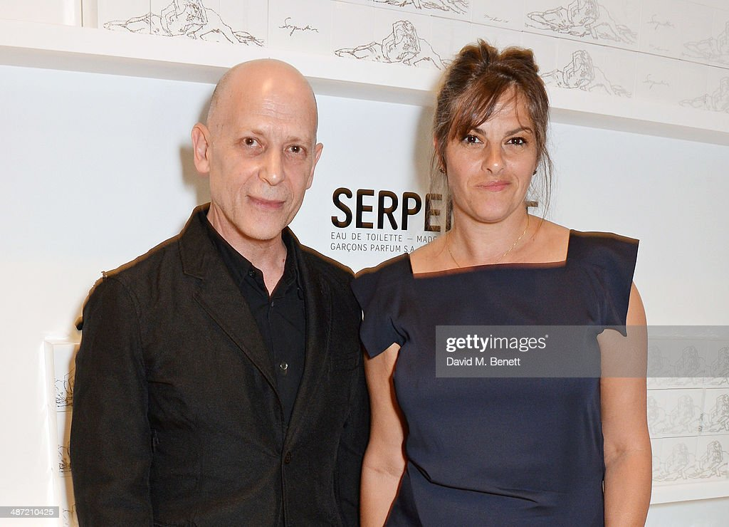 Adrian Joffe (L) and Tracey Emin attend the launch of 'Serpentine', a new fragrance by The Serpentine Gallery and fashion house Comme des Garcons featuring packaging artwork by Tracey Emin, at The Serpentine Gallery on April 28, 2014 in London, England.
