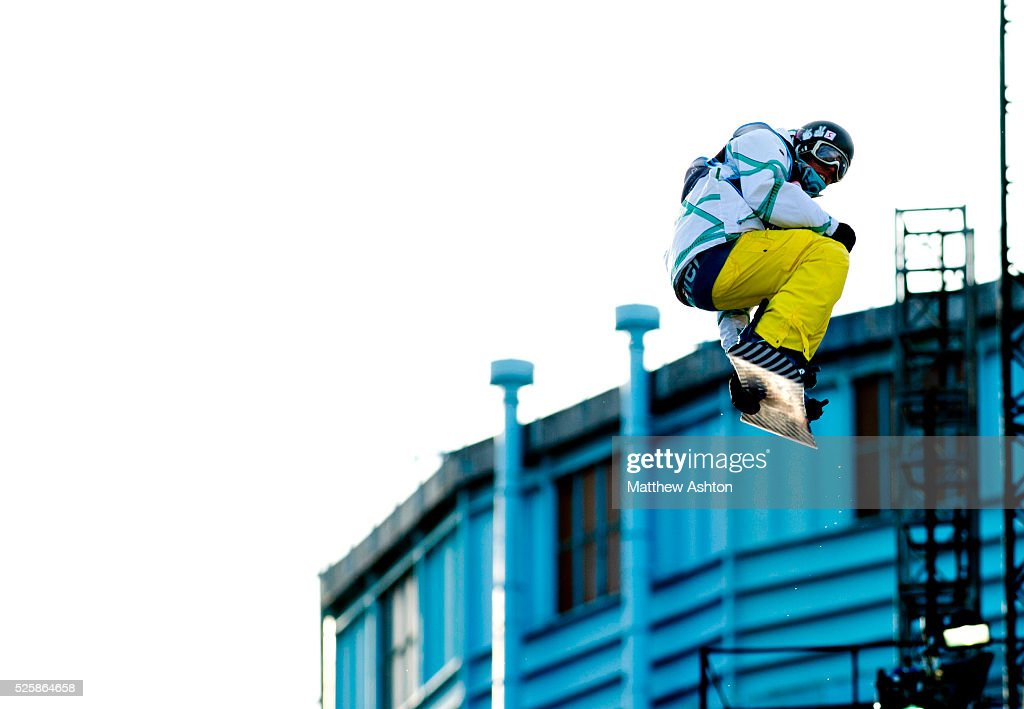 Adrian Kreiner from Austria competing in the LG Snowboard International Ski Federation in London