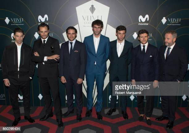 Adrian Laster Asier Etxeandia Llorenc Gonzalez Fernando Guallar Ignacio Montes and Diego Martin pose during a photocall for the premiere of 'Velvet'...