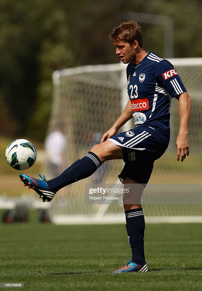 Adrian Leijer controls the ball during a Melbourne Victory A-League training session at Gosch's Paddock on November 20, 2012 in Melbourne, Australia.