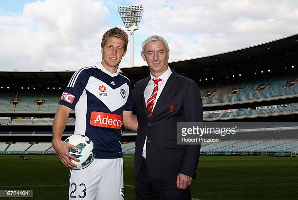 Adrian Leijer Melbourne Victory captain and Ian Rush Liverpool FC Ambassador and former player pose for photos after a press conference at Melbourne...