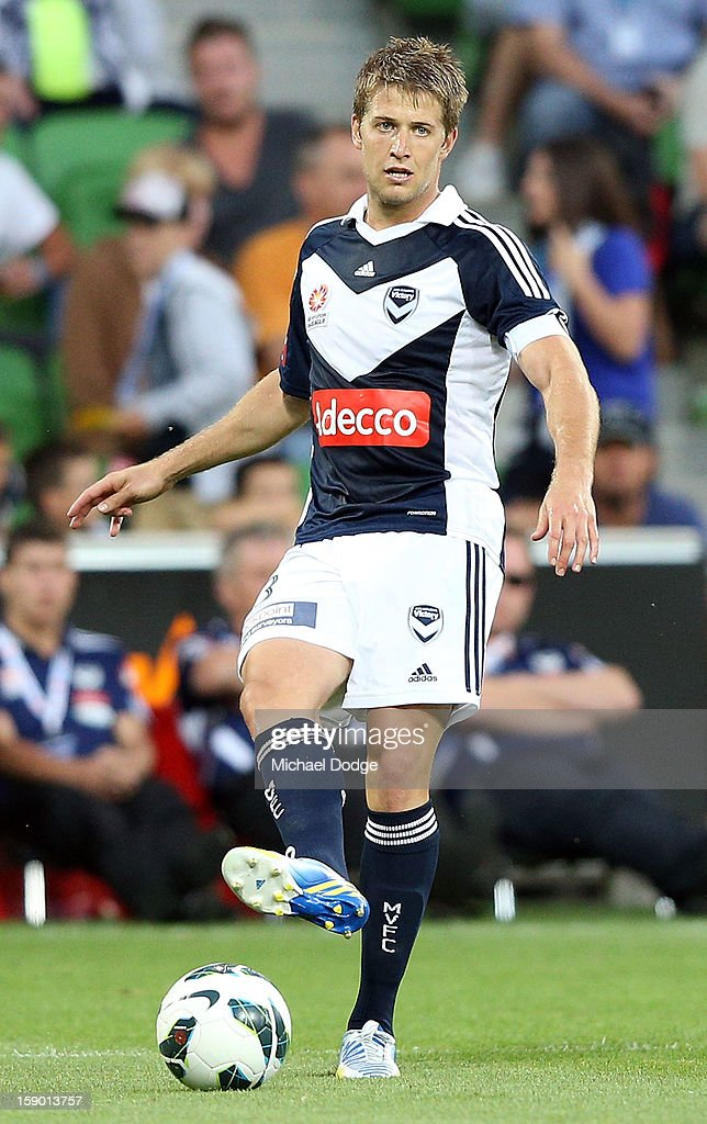 Adrian Leijer of the Melbourne Victory kicks the ball during the round 15 A-League match between the Melbourne Victory and Wellington Phoenix at AAMI Park on January 5, 2013 in Melbourne, Australia.