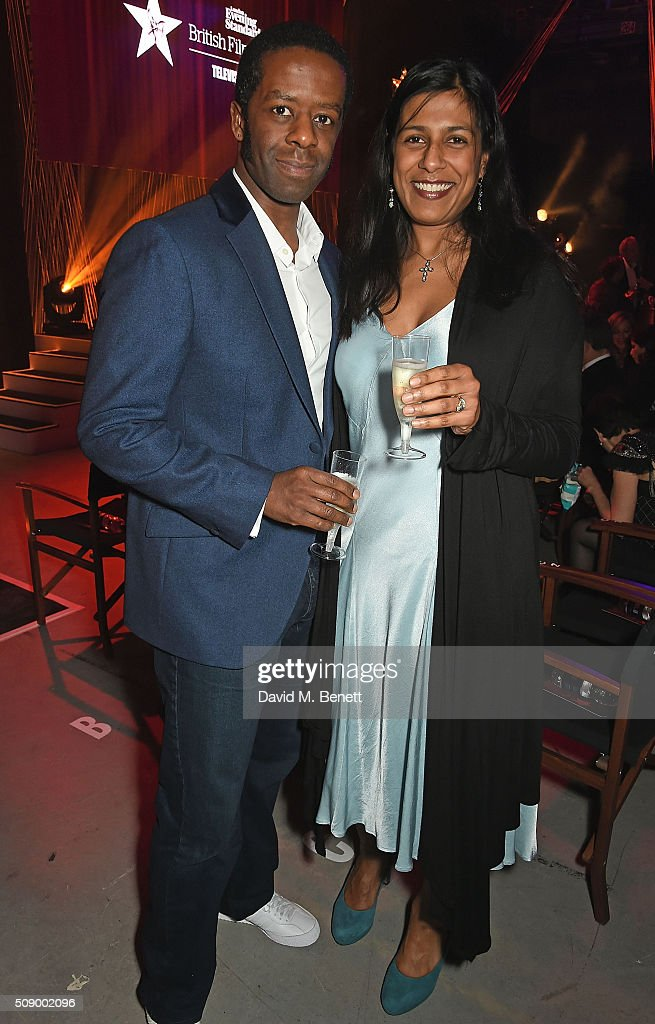 Adrian Lester and Lolita Chakrabarti attend a champagne reception at the London Evening Standard British Film Awards at Television Centre on February...