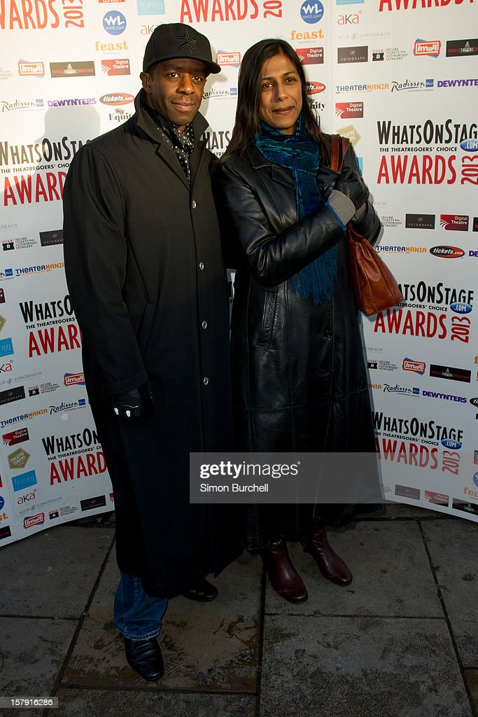 Adrian Lester and Lolita Chakrabarti attend the Whatsonstage.com Theare Awards nominations launch at Cafe de Paris on December 7, 2012 in London, England.