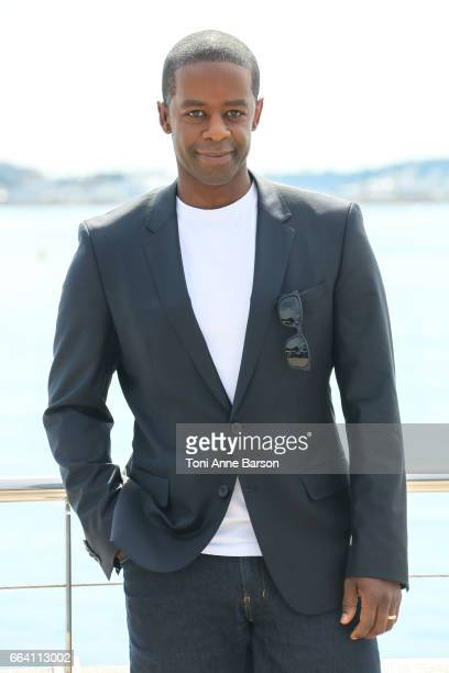 Adrian Lester attends 'Riviera' Photocall as part of MIPTV 2017 on April 3 2017 in Cannes France
