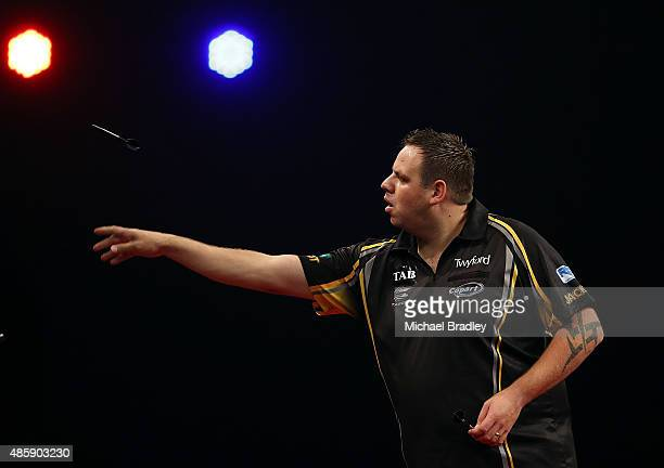 Adrian Lewis in action during the Auckland Darts Masters at The Trusts Arena on August 30 2015 in Auckland New Zealand