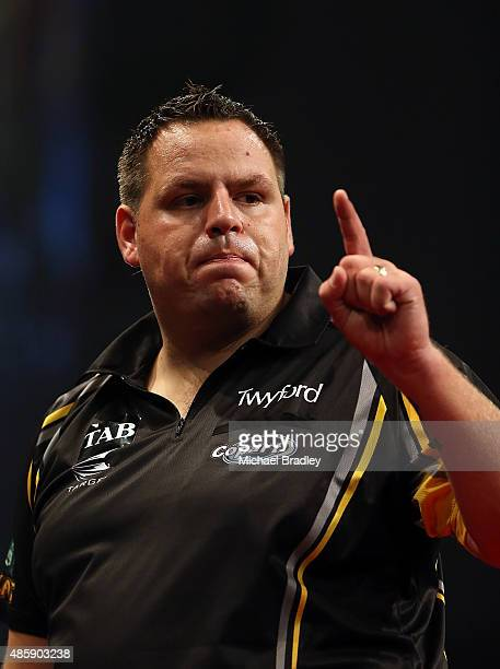 Adrian Lewis ina action during the Auckland Darts Masters at The Trusts Arena on August 30 2015 in Auckland New Zealand
