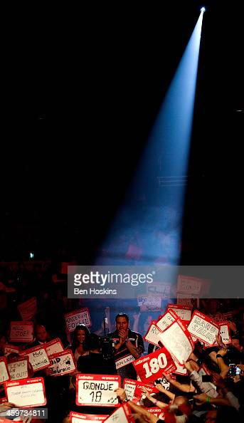 Adrian Lewis of England prepares to walk on prior to his quarter final match against James Wade of England on day fourteen of the Ladbrokescom World...