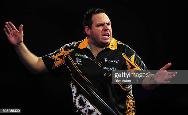 Adrian Lewis of England reacts during the final match against Gary Anderson of Scotland on Day Fifteen of the 2016 William Hill PDC World Darts...
