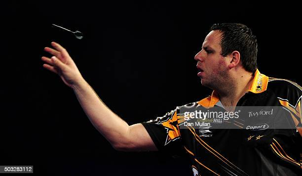 Adrian Lewis of England throws during the final match against Gary Anderson of Scotland during Day Fifteen of the 2016 William Hill PDC World Darts...