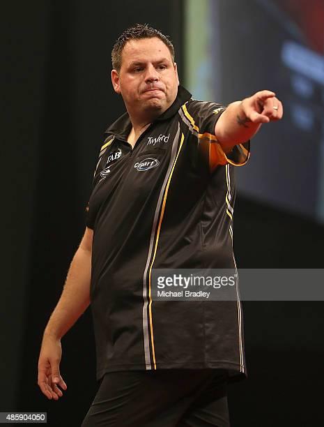 Adrian Lewis reacts during the Auckland Darts Masters at The Trusts Arena on August 30 2015 in Auckland New Zealand