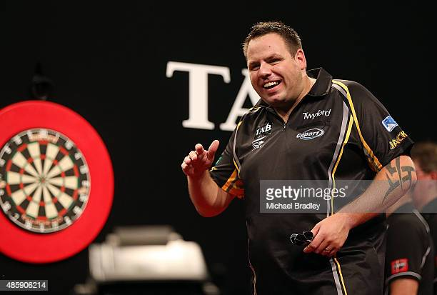 Adrian Lewis reacts during the final against Raymond van Barneveld during the Auckland Darts Masters at The Trusts Arena on August 30 2015 in...