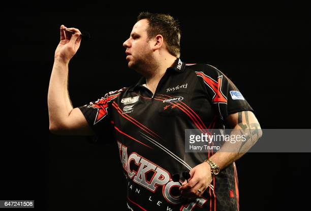 Adrian Lewis throws during Night Five of the Betway Premier League Darts at Westpoint Arena on March 2 2017 in Exeter England
