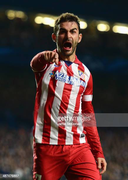 Adrian Lopez of Club Atletico de Madrid celebrates scoring his goal during the UEFA Champions League semifinal second leg match between Chelsea and...