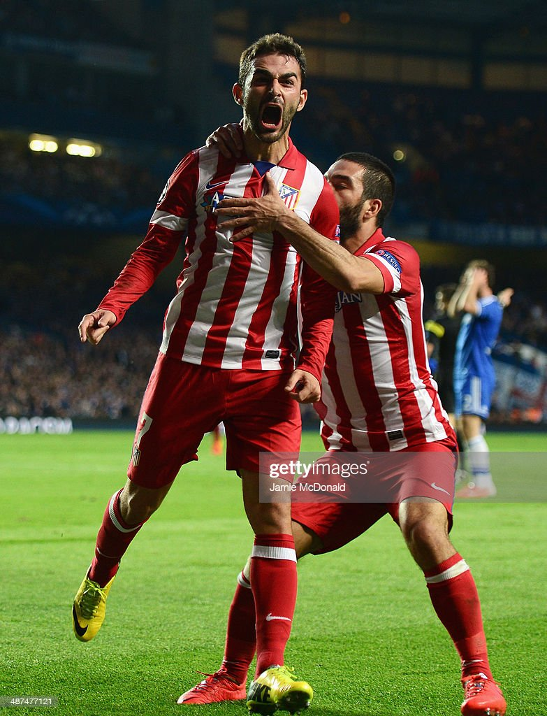 Adrian Lopez of Club Atletico de Madrid celebrates scoring his goal during the UEFA Champions League semi-final second leg match between Chelsea and Club Atletico de Madrid at Stamford Bridge on April 30, 2014 in London, England.