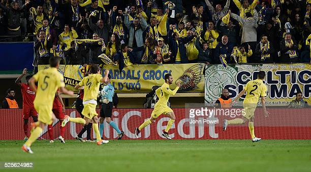Adrian Lopez of Villarreal celebrates after scoring the winning goal during the UEFA Europa League Semi Final First Leg match between Villarreal CF...