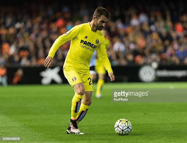Adrian Lopez of Villarreal CF and during the Spanish League Match match at Estadio Mestalla Valencia on 1May of 2016