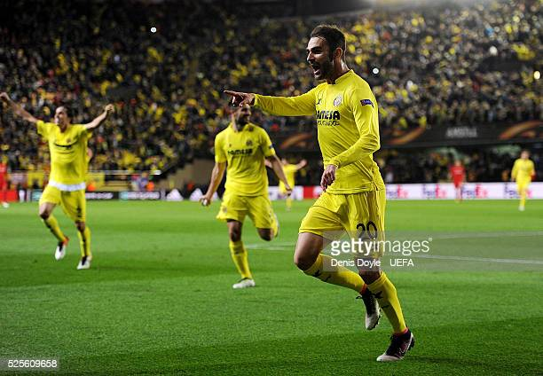 Adrian Lopez of Villarreal CF celebrates scoring his team's opening goal during the Europa League Semi Final first leg match between Villarreal CF...
