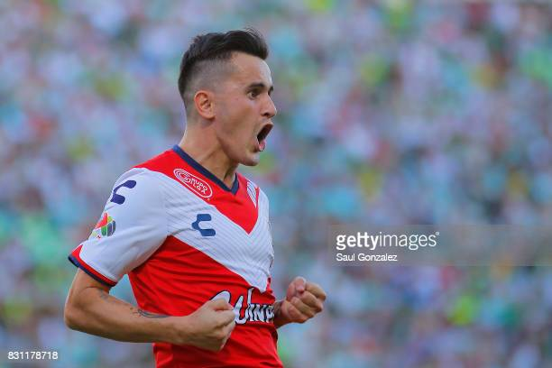 Adrian Luna of Veracruz celebrates after scoring the second goal of his team during the 4th round match between Santos Laguna and Veracruz as part of...