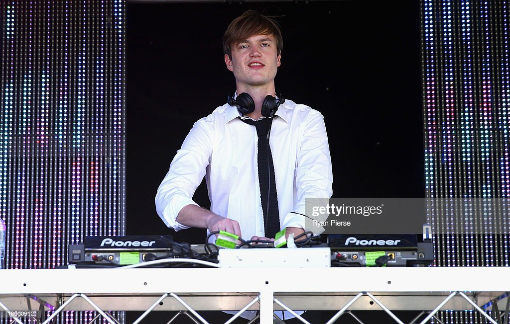 Adrian Lux performs on Victoria Derby Day at Flemington Racecourse on November 2, 2013 in Melbourne, Australia.