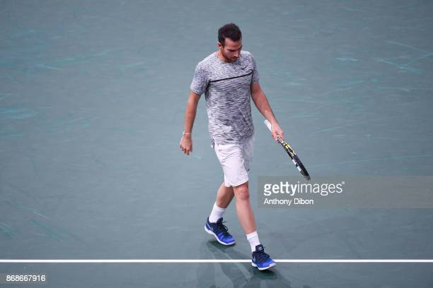 Adrian Mannarino during the Day 2 of the Rolex Paris Masters at AccorHotels Arena on October 31 2017 in Paris France