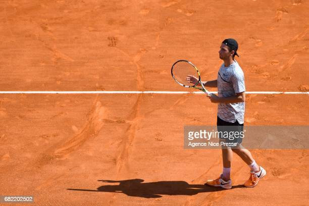Adrian Mannarino of France celebrate his victory during the Monte Carlo Rolex Masters 2017 on April 18 2017 in Monaco Monaco