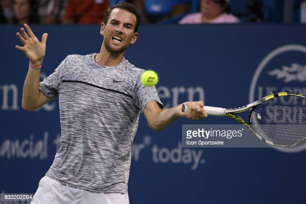 Adrian Mannarino of France hits a forehand during the Western Southern Open at the Lindner Family Tennis Center in Mason Ohio on August 16th 2017