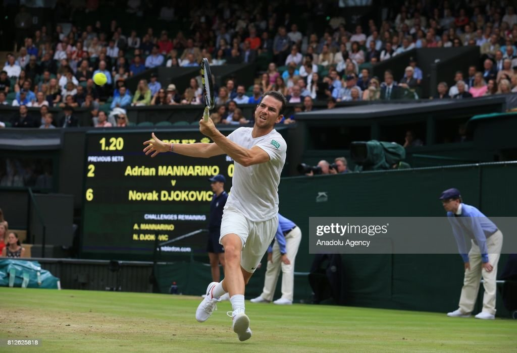 Adrian Mannarino of France in action against Novak Djokovic of Serbia (not seen) on day eight of the 2017 Wimbledon Championships at the All England Lawn and Croquet Club in London, United Kingdom on July 11, 2017.
