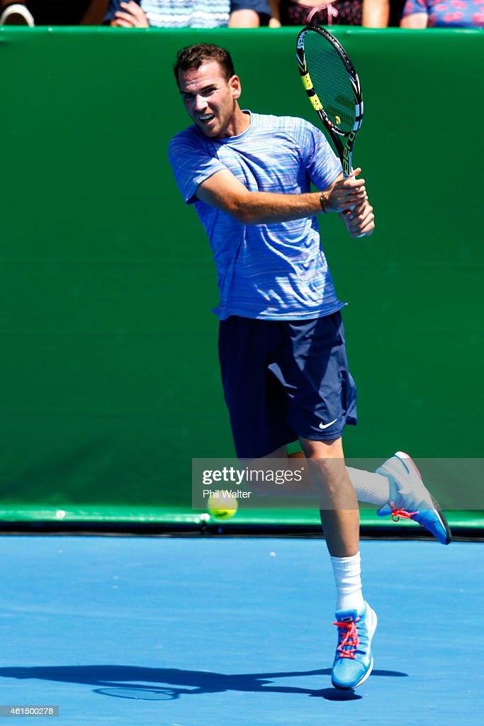 Adrian Mannarino of France in action in his singles match against Roberto Bautista Agut of Spain during day three of the 2015 Heineken Open Classic at the Auckland Tennis Centre on January 14, 2015 in Auckland, New Zealand.